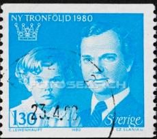 Koning Carl Gustav met kroonprinses Victoria  op een postzegel uit 1980