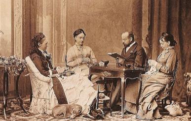 Charles Woodcock als voorlezer voor koningin Olga en twee hofdames