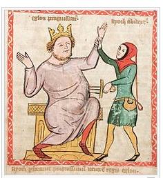moord op koning Eglon afbeelding uit  Speculum Humanae Salvationis, 1360.