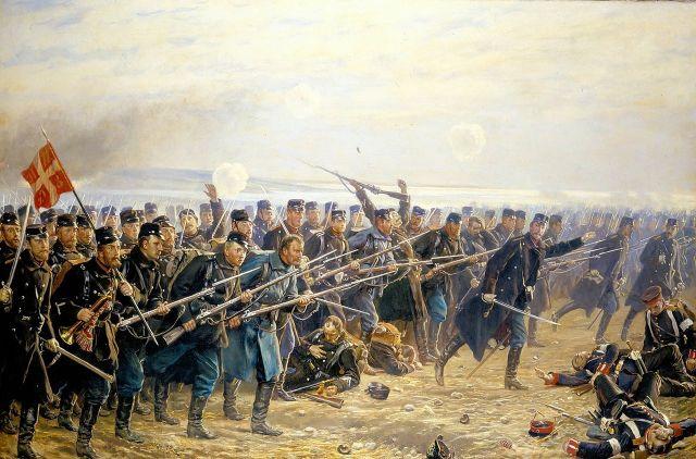 Slag bij Dybbøl, schilderij van Vilhelm Rosenstand 1894